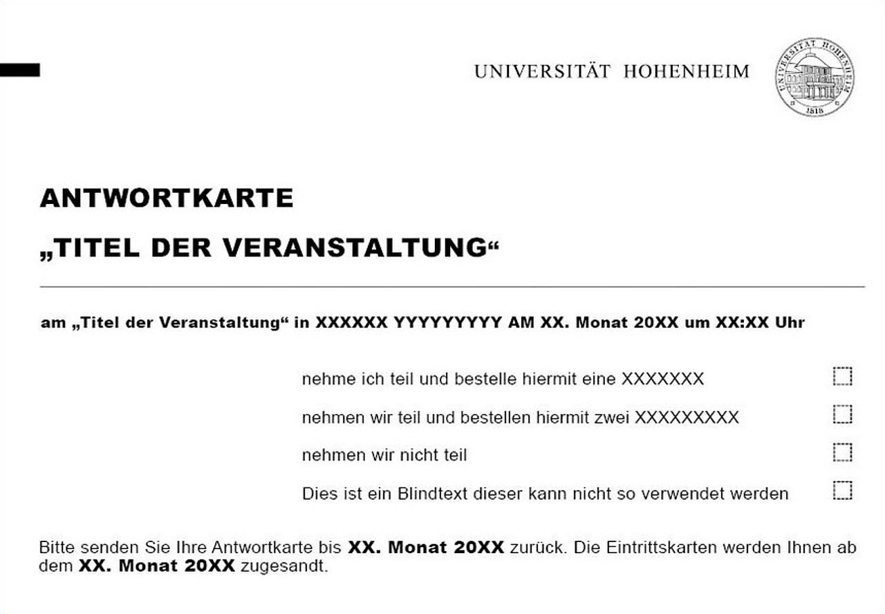 einladungen / antwortkarte: universität hohenheim, Einladung