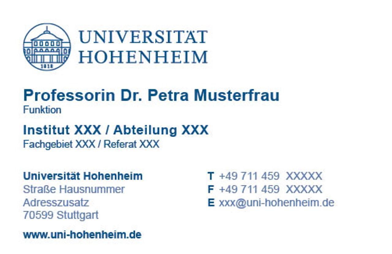 Visitenkarte Universität Hohenheim