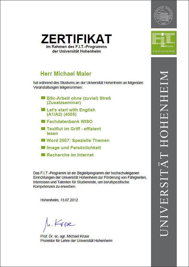Fit Certificate University Of Hohenheim